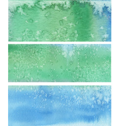 Blue green painted banners vector