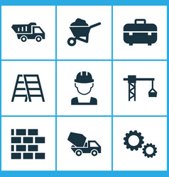 Building icons set collection of lifting hook vector