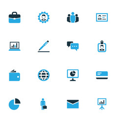 Business colorful icons set collection vector