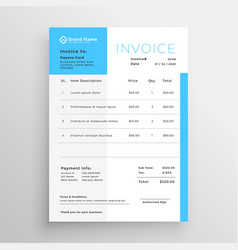Business invoice blue minimal template design vector