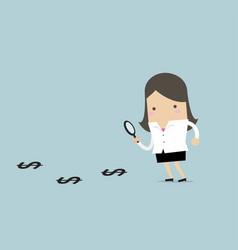 Businesswoman finding money vector