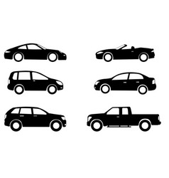 car silhouettes set vector image