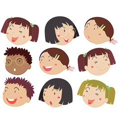 Children faces vector image vector image