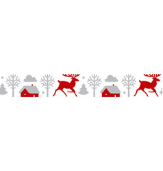 christmas seamless patterin with reindeer fir vector image