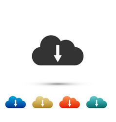 cloud download icon isolated on white background vector image