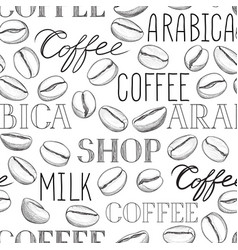 Coffee seamless pattern beans vector