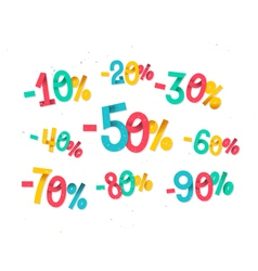 Colorful discount percentages fun childish folded vector