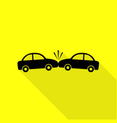 crashed cars sign black icon with flat style vector image