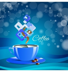 Cream coffee blue cup cappuccino drink vector