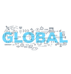 creative of global word lettering vector image