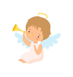 Cute boy angel with nimbus and wings playing vector