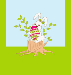 cute cartoon bunny sitting on the stump with vector image