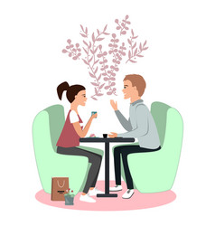 cute couple seating in cafe communication and vector image