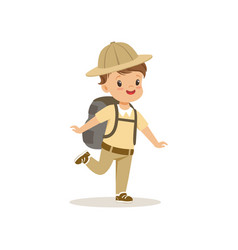 cute little boy in scout costume with backpack vector image
