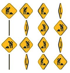 Digging man animation rotation road sign vector