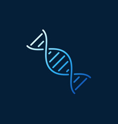 Dna helix outline blue minimal icon or logo vector