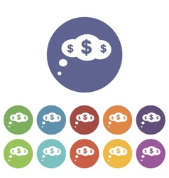 Dollar cloud flat icon vector