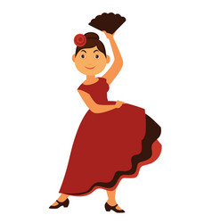 female flamenco dancer in long dress with rose in vector image