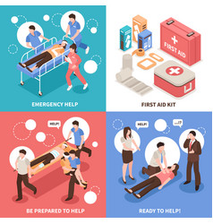 First aid isometric concept vector