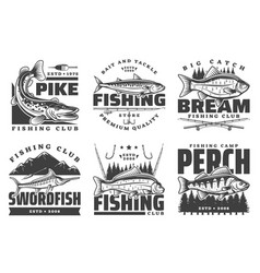 fisher club big fish catch fishing camp tours vector image