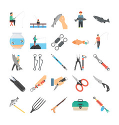 Fishery flat icons vector
