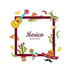 flat mexico attributes with place for text vector image