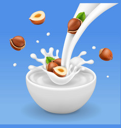 flowing milk and bowl with hazelnuts vector image