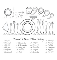 Formal table setting vector