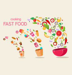 Fresh meal flying into a bowl and box cooking vector