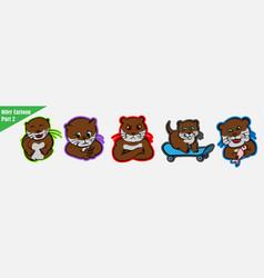 Funny cartoon many expression animals otter pet vector