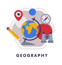 Geography school subject icon education and vector
