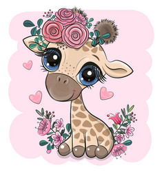 Giraffe with flowers on a pink background vector