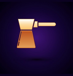 Gold coffee turk icon isolated on dark blue vector