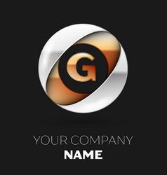 golden letter g logo symbol in the circle shape vector image