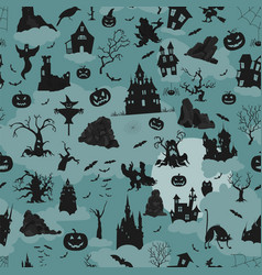 Halloween holiday seamless pattern flat design vector
