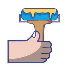 hand with paint roller tool to decorate vector image