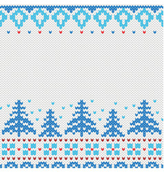 handmade knitted background pattern with christmas vector image