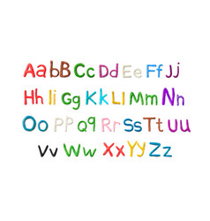 handmade plasticine alphabet english colorful vector image