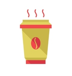 Hot coffee cup flat style vector image