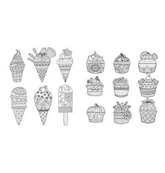 ice cream and cupcakes vector image