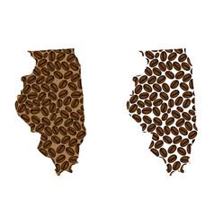 Illinois - map of coffee bean vector