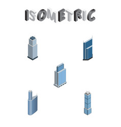 Isometric building set of apartment residential vector