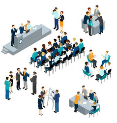 Isometric people teamwork set vector