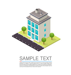 Isometric road house art sign vector