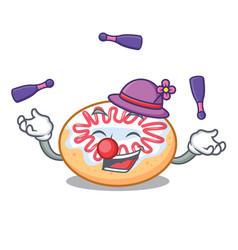juggling jelly donut mascot cartoon vector image