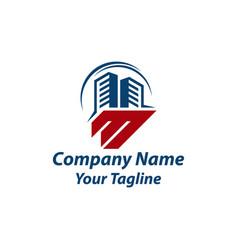 Latter m building logo template logo design vector