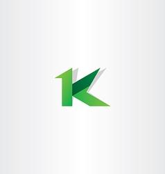 letter k green icon logo symbol design vector image