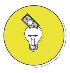 Light bulb icon inside green button design vector