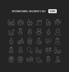 line icons international children day vector image
