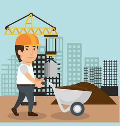 man builder character working vector image